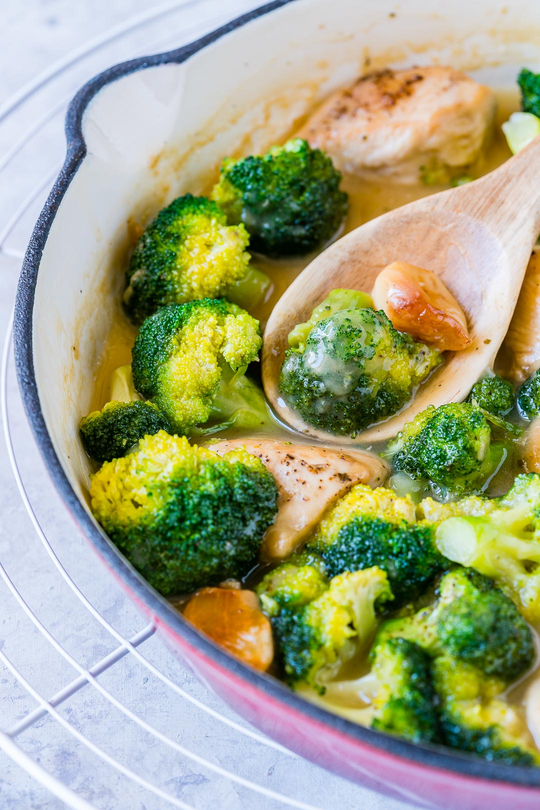 One-Pan Creamy Garlic Chicken Broccoli Healthy Recipe
