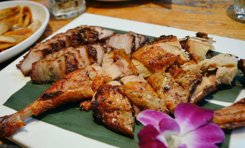 Duck and pork smoked with tea