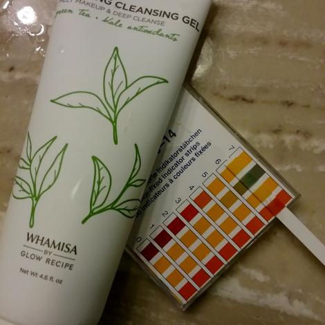 Glow Recipe green tea cleanser pH test
