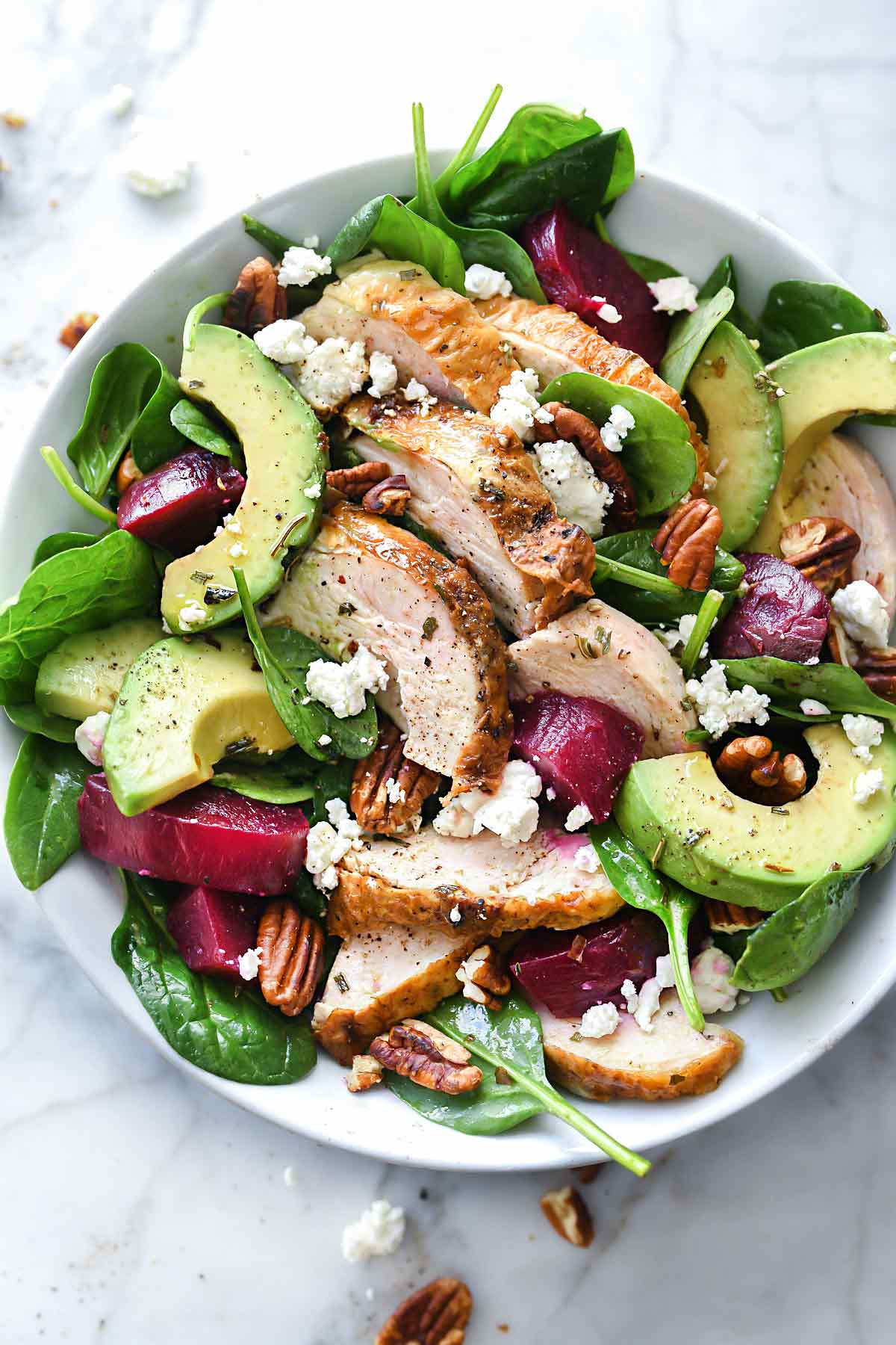 Roasted Beet, Avocado and Goat Cheese Spinach Salad with Chicken 38