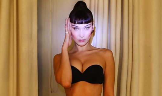 Bella Hadid Poses in a Strapless Black Bra and Matching Underwear