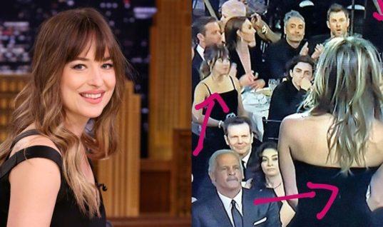 Dakota Johnson on Watching Angelina Jolie While Jennifer Aniston Presented at the Golden Globes