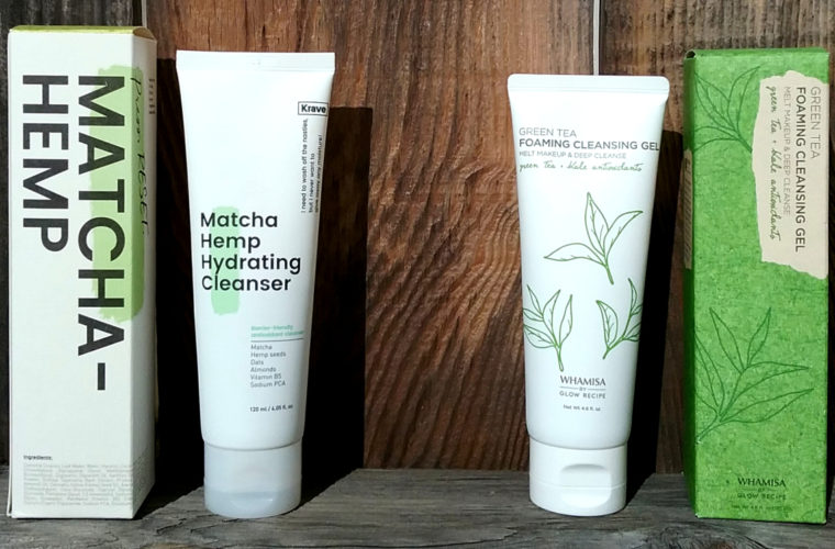 Comparison Review: Krave Beauty Matcha Hemp Hydrating Cleanser vs. Whamisa by Glow Recipe Green Tea Foaming Cleansing Gel