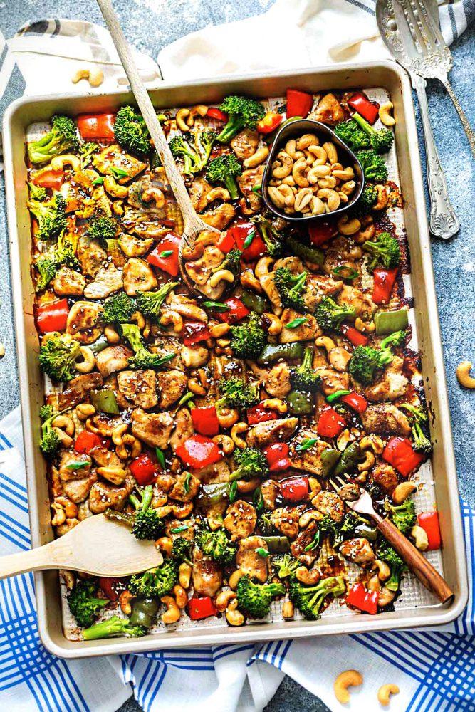Sheet Pan Cashew Chicken from therecipecritic.com on foodiecrush.com