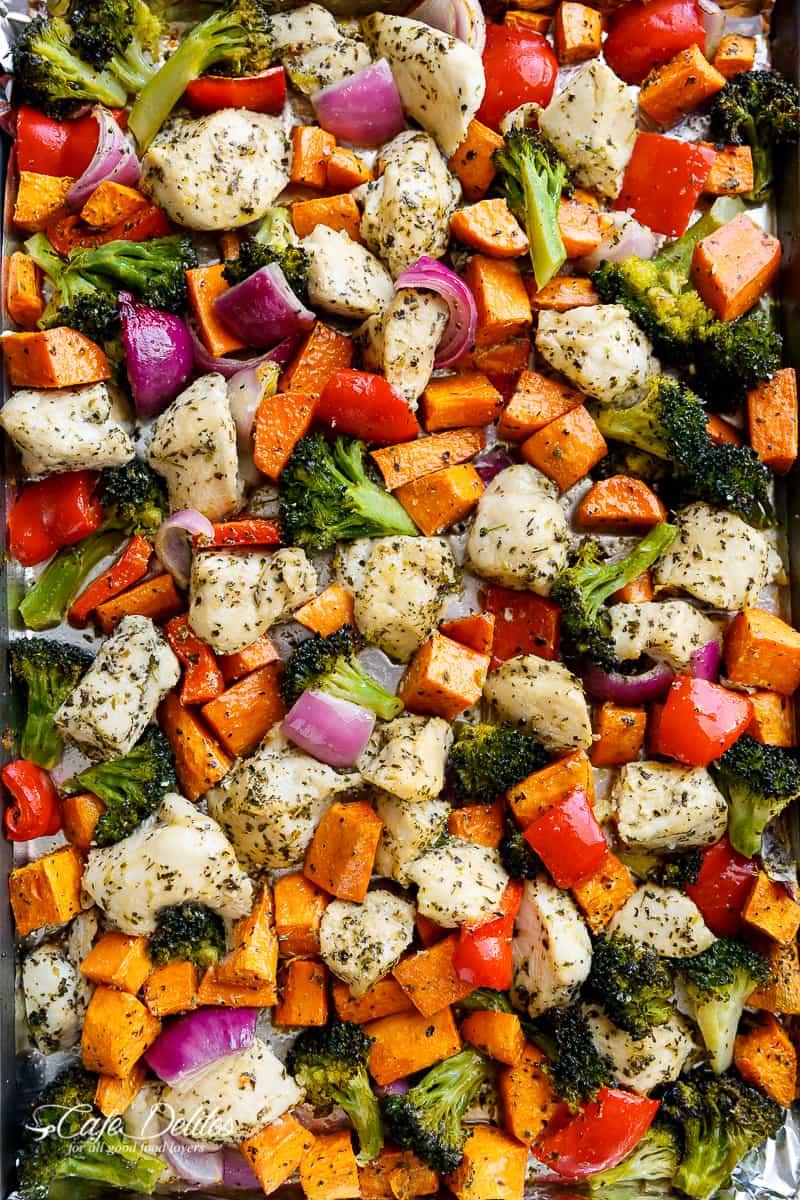 Garlic Herb Chicken & Sweet Potato Sheet Pan Meal Prep from cafedelites.com on foodiecrush.com