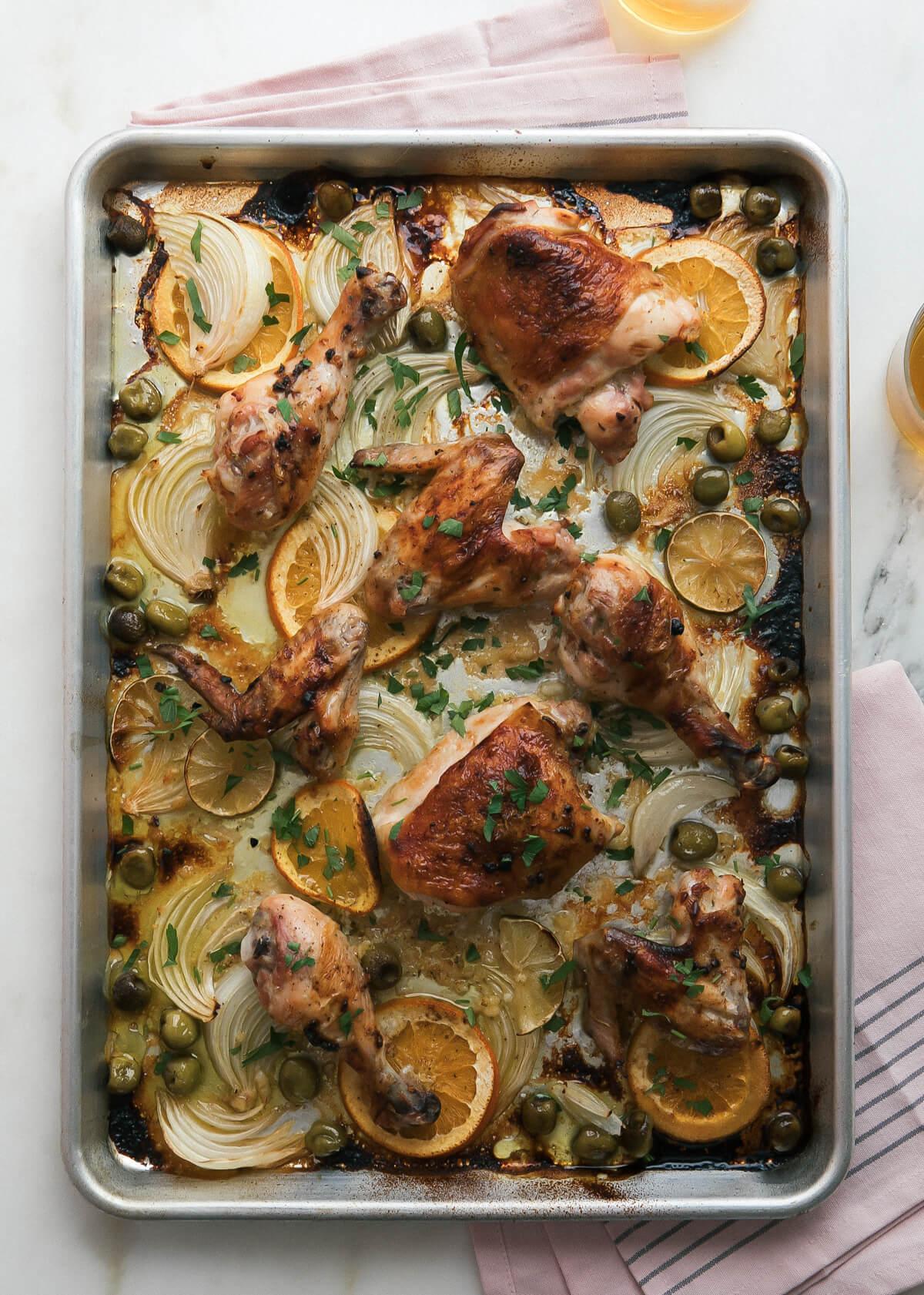 Mojo Sheet Pan Chicken from acozykitchen.com on foodiecrush.com
