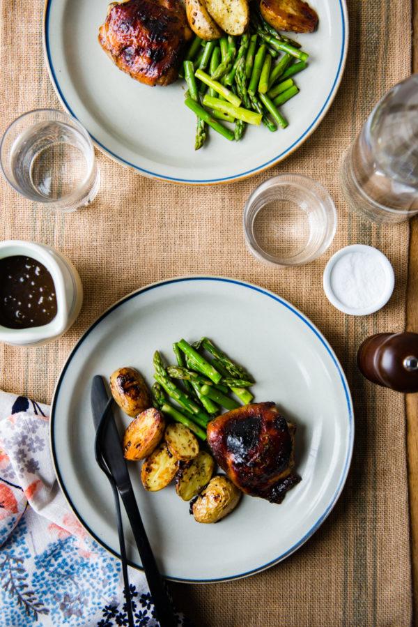 Sheet Pan Dinner: Rosemary Balsamic Chicken from designmom.com on foodiecrush.com