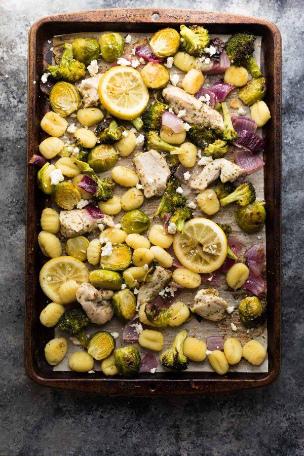 Make Ahead Lemon Chicken Sheet Pan Gnocchi from sweetpeasandsaffron.com on foodiecrush.com