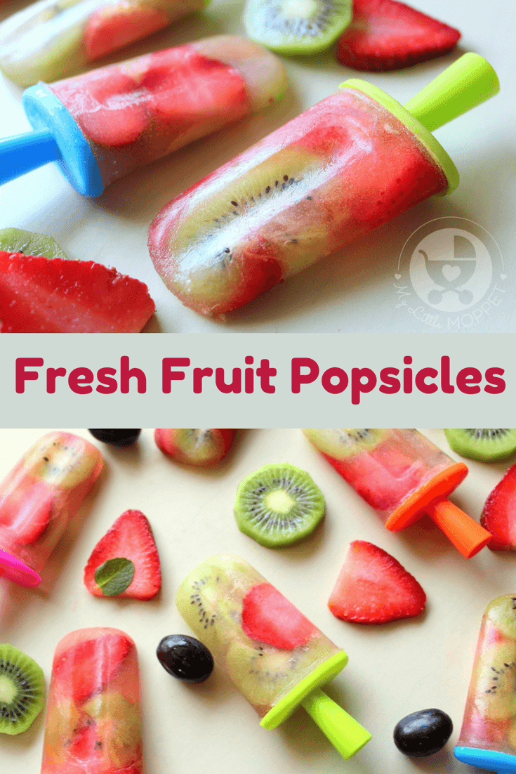 This Holi, fill your tummy with brightly colored fruits - in a healthy and refreshing Fresh Fruit Popsicles! A three ingredient recipe that doesn't need cooking!