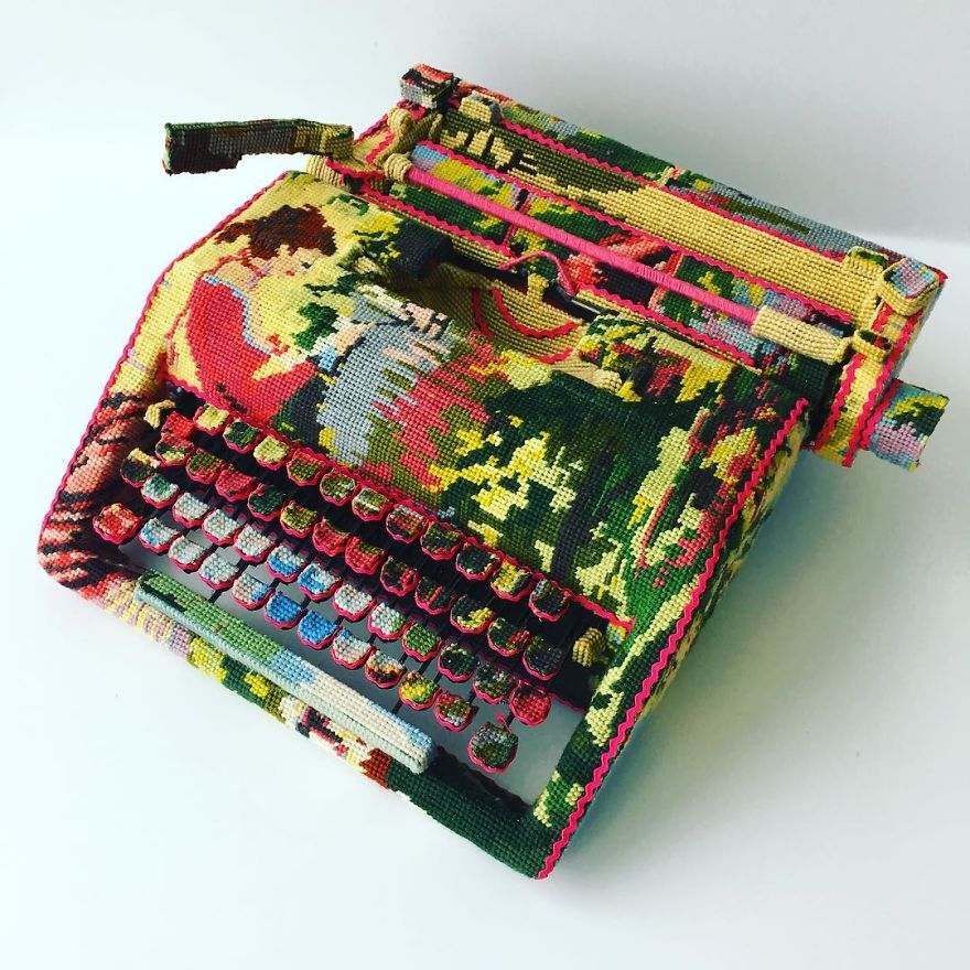 Dressed up vintage household things in cross stich embroiderys return to life as beautiful art objects 57