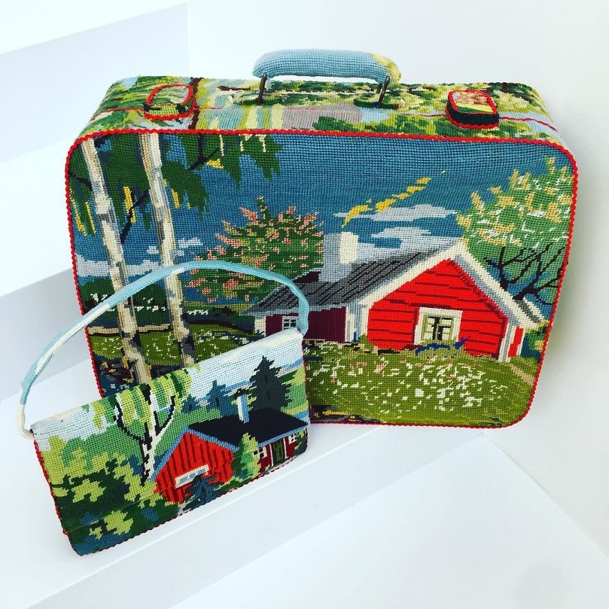 Dressed up vintage household things in cross stich embroiderys return to life as beautiful art objects 66