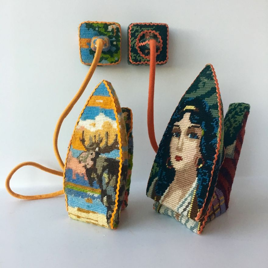 Dressed up vintage household things in cross stich embroiderys return to life as beautiful art objects 58