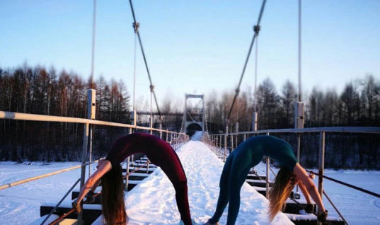 Yoga at -41C on the famous Russian Baikal-Amur Mainline railway /The Siberian Times