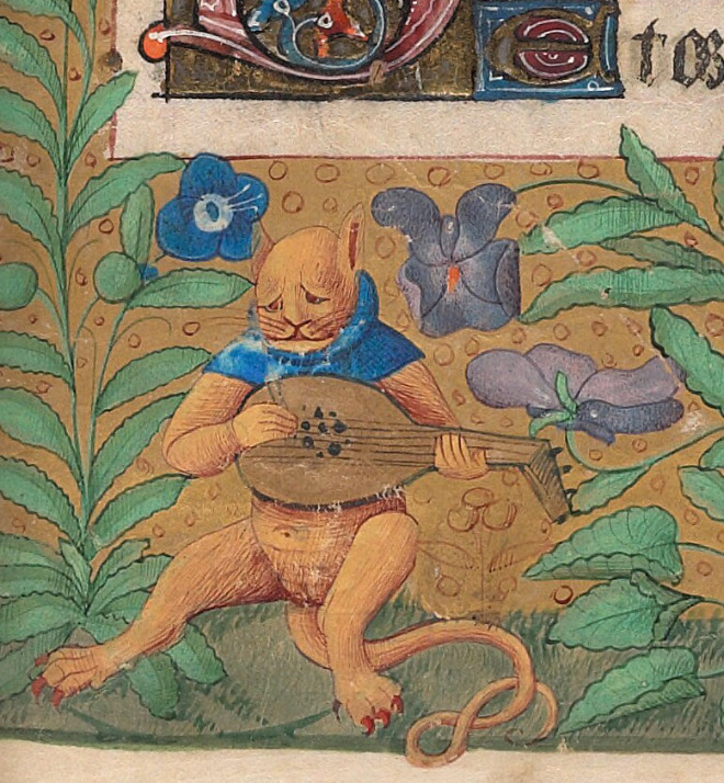 Check out Ugly Medieval Paintings of Cats, it looks like the medieval painters never laid eyes on a cat. 96