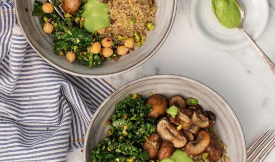Kale Pesto Mushroom Pistachio Bowls Recipe