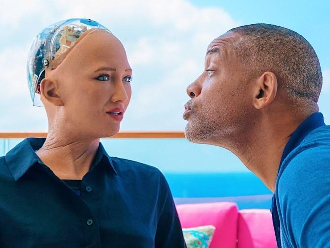 Watch Will Smith get rejected by Sophia the AI robot 36