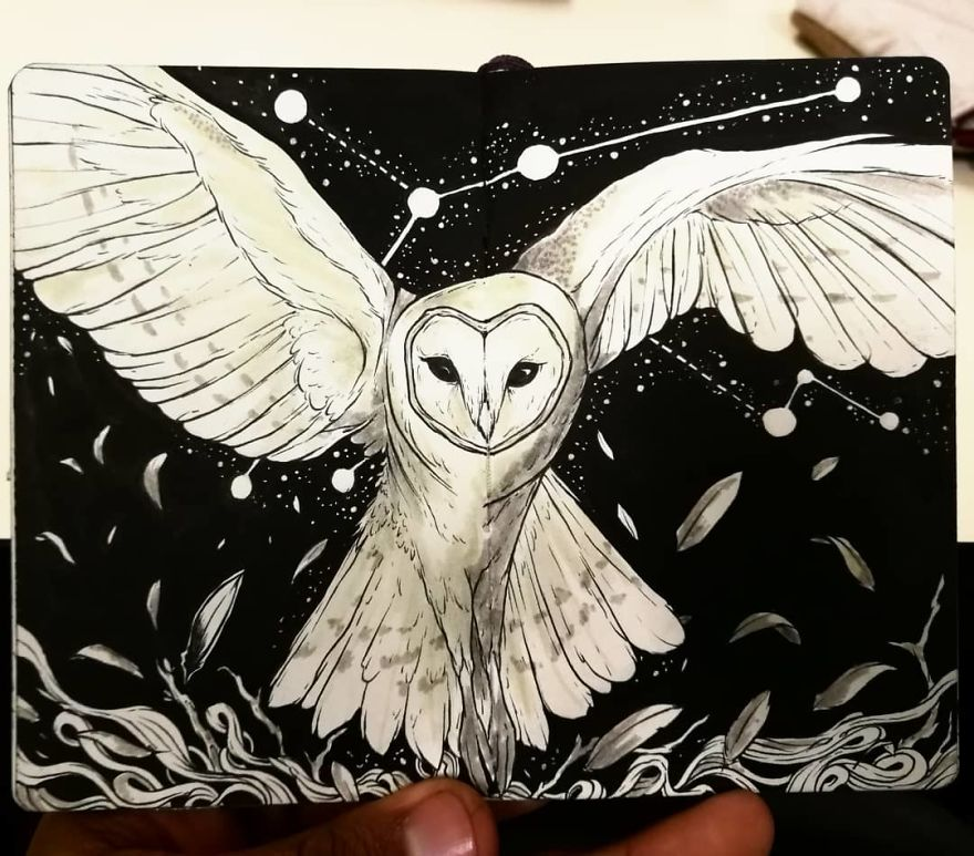 Magical Animal Illustrations Mixed With The Night Sky 43