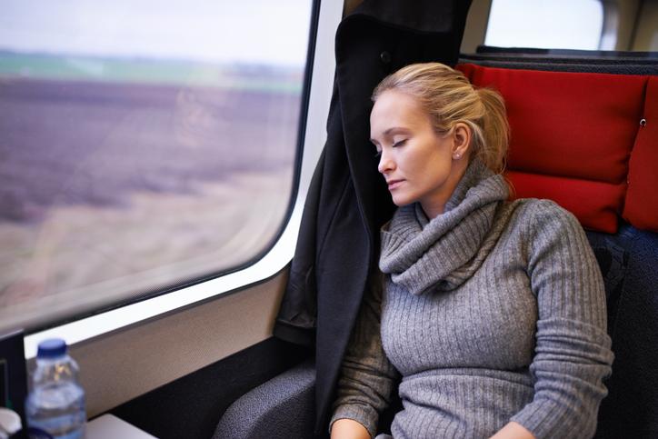 She sleeps well on the train