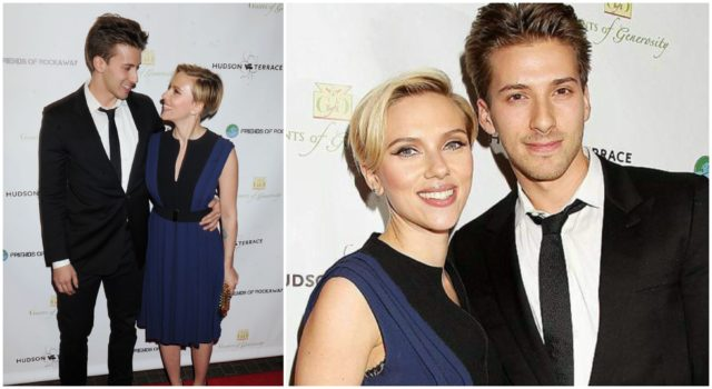 Scarlett Johansson and his twin brother on the red carpet
