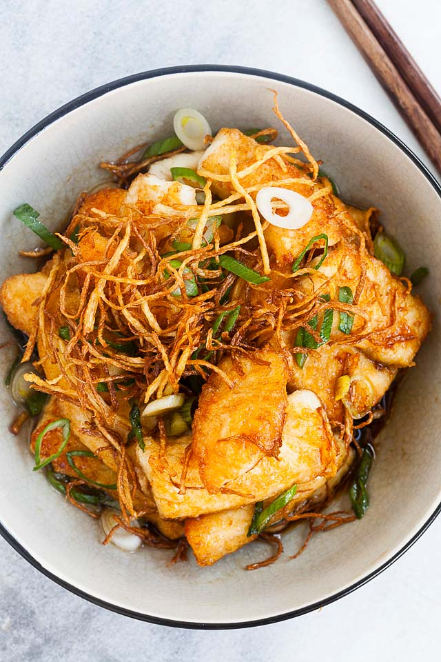 Pan-fried white fish fillet in ginger-soy sauce.