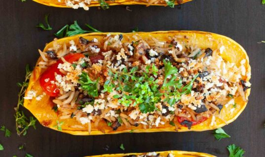 Yummy Recipe of Stuffed Delicata Squash with Goat Cheese and Pancetta!