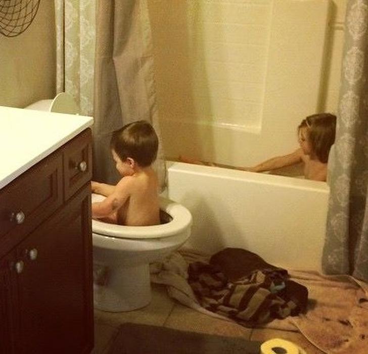 Children in the bathroom