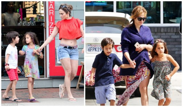 Jennifer Lopez on a walk with children