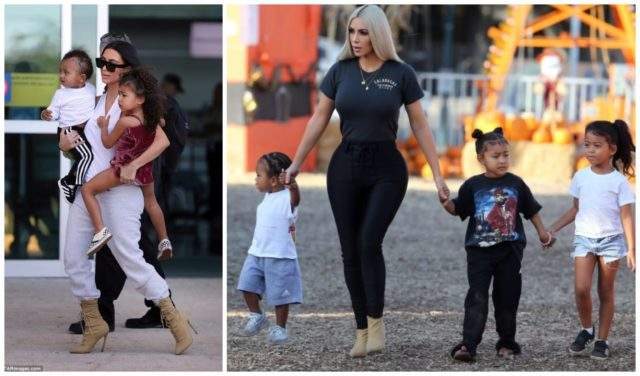 Kim Kardashian walks with children