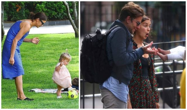 Irina Shayk walks with her daughter