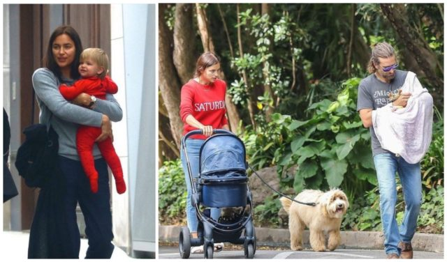 Irina Shayk and Bradley Cooper are walking with her daughter