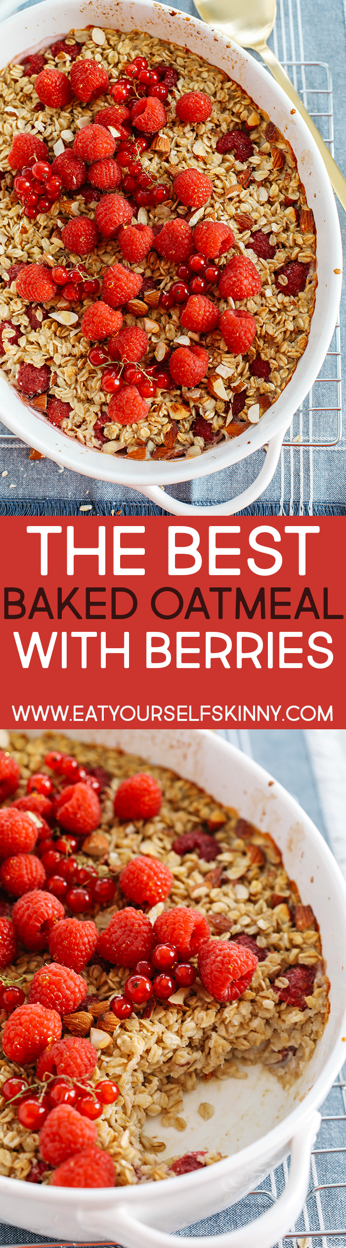Start your morning off with this delicious Raspberry Almond Baked Oatmeal that is filling, wholesome and naturally sweetened for a perfect healthy breakfast!