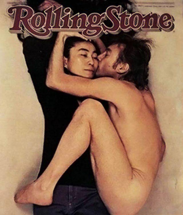 John Lennon and Yoko Ono on the cover of a magazine