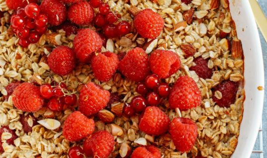 Healthy Breakfast Recipe: Raspberry Almond Baked Oatmeal