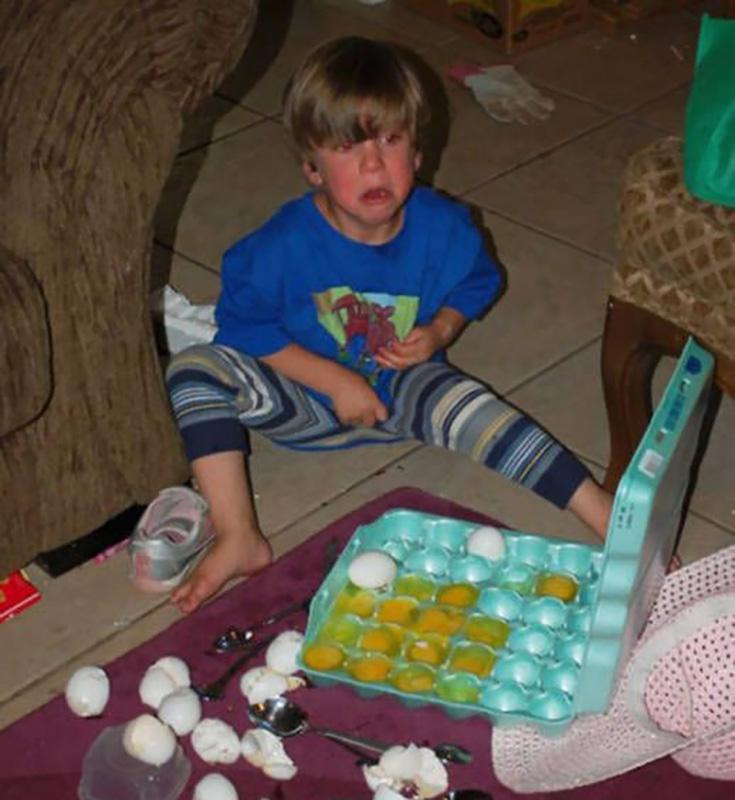 Baby beats eggs