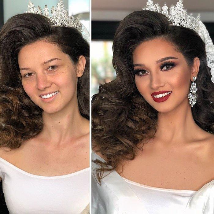 Brunette without makeup bride