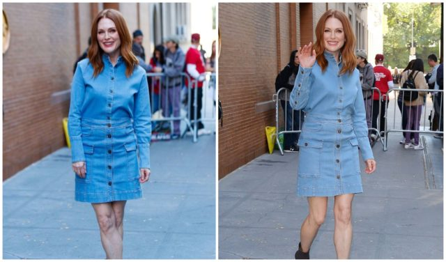 Julianne Moore posing for photographers