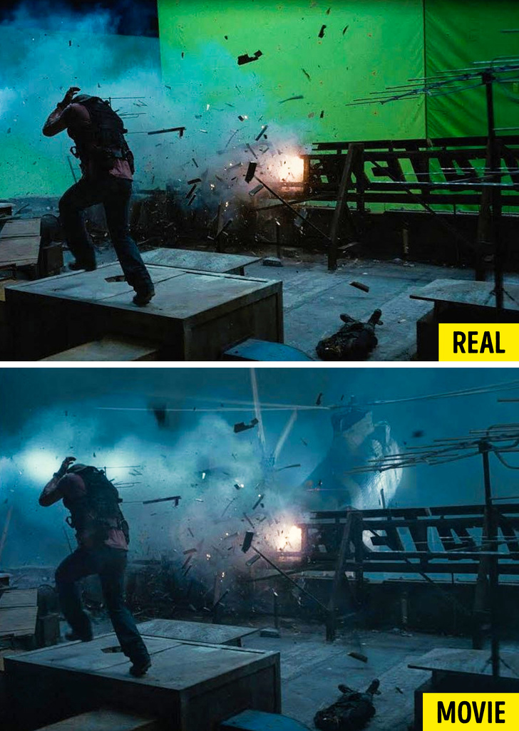 Frames from action movie