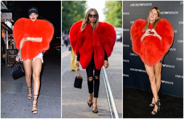 Rihanna, Erica Pelosini and Anna Dello Russo in the same outfit