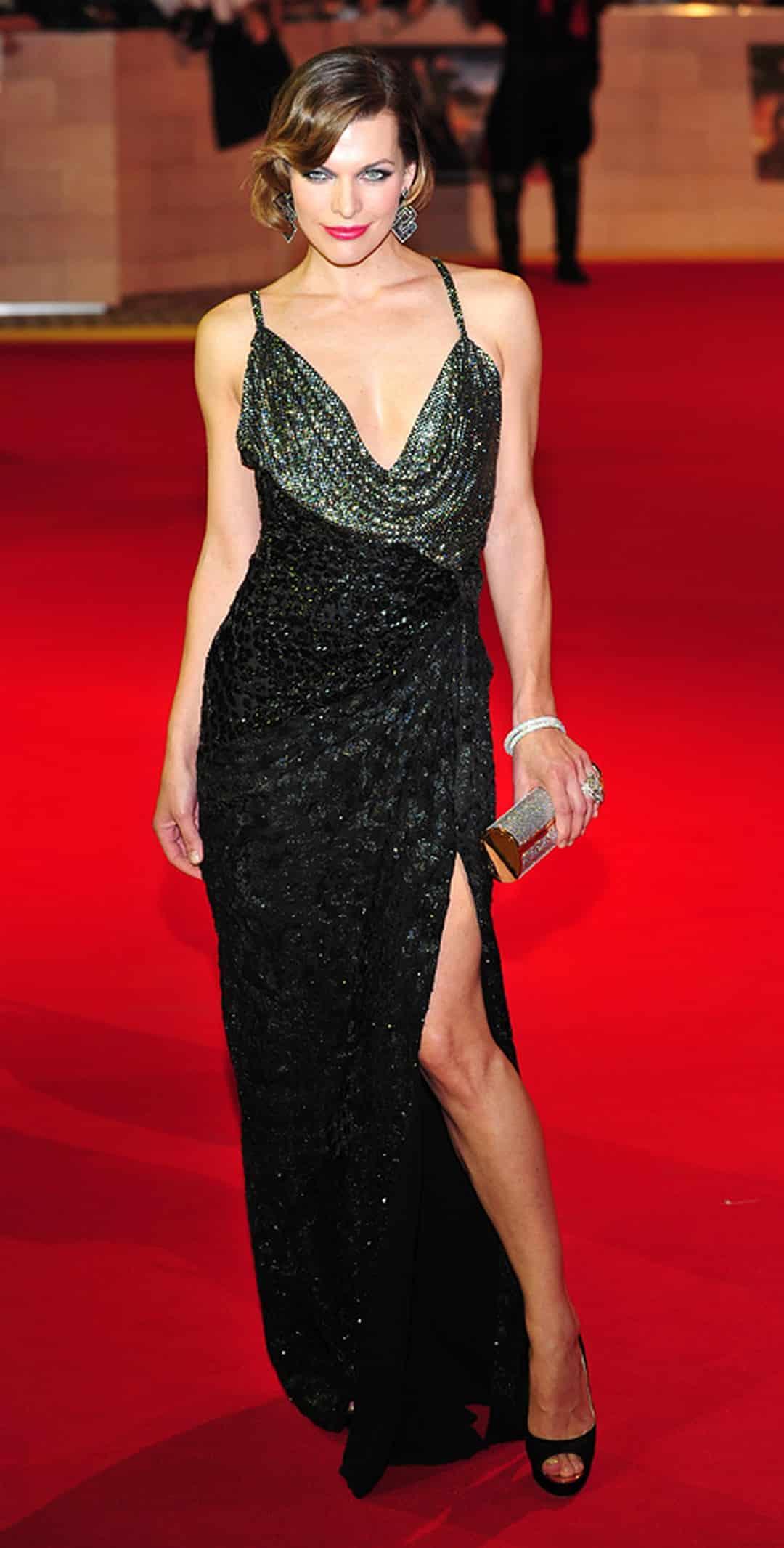 Mila Jovovich in a dress