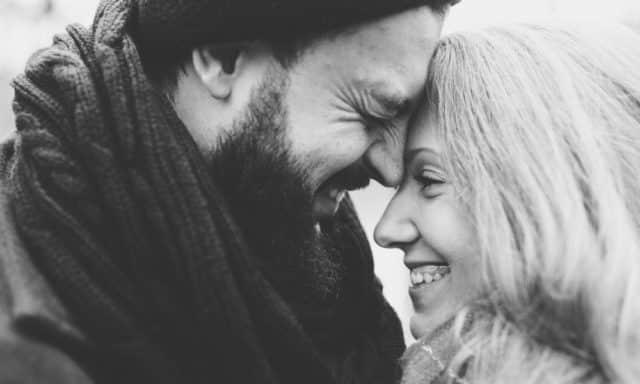 Couple laughs