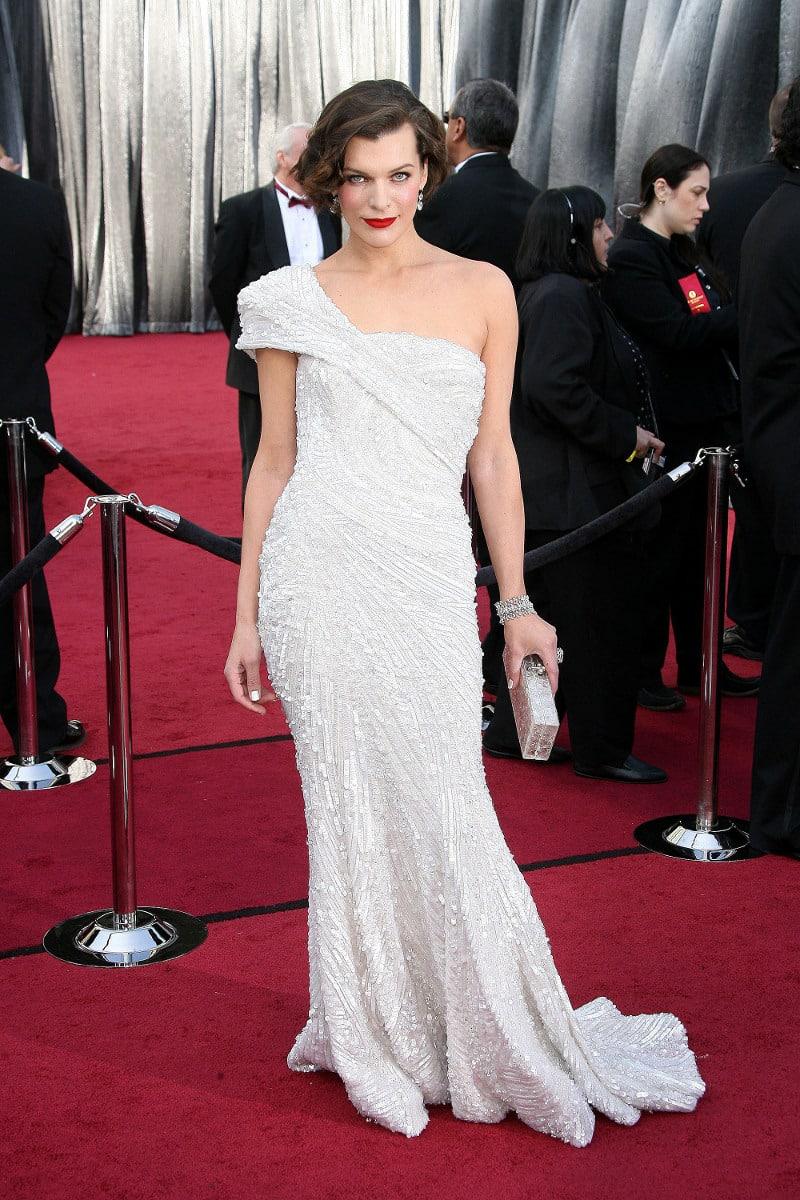 Mila Jovovich in white
