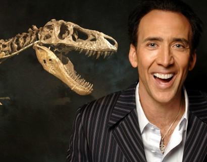 Nicolas cage and dinosaur skull