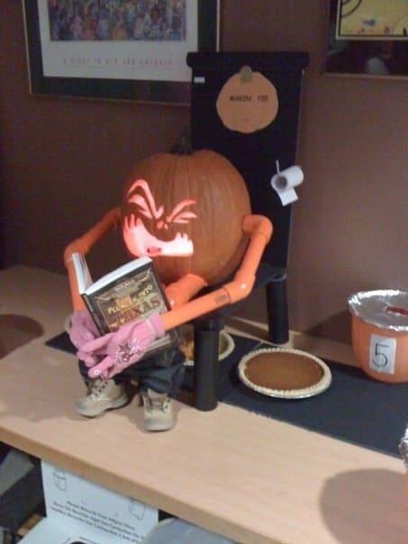 pumpkin with a book