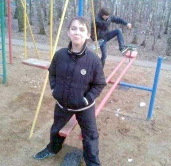 boys on a swing