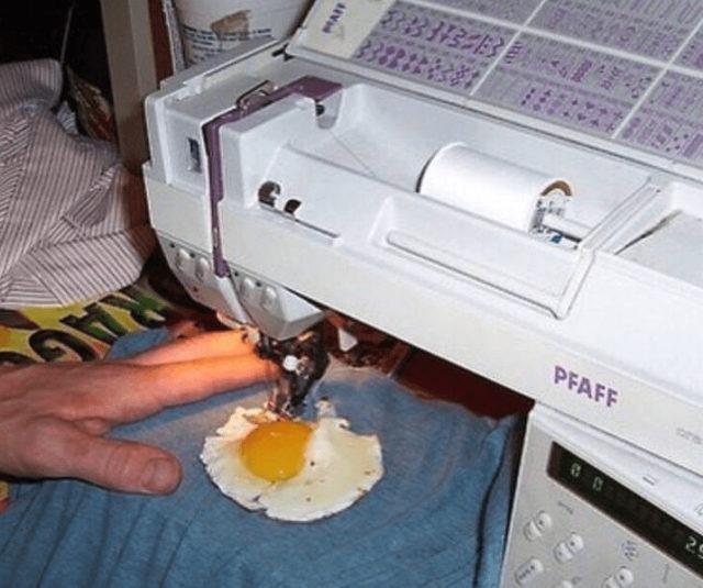 a man sews a fried egg