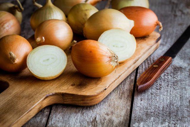 onions on a cutting board