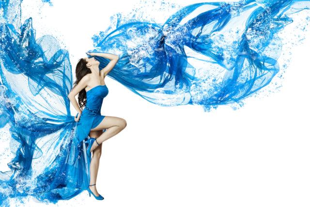 girl in a long blue dress