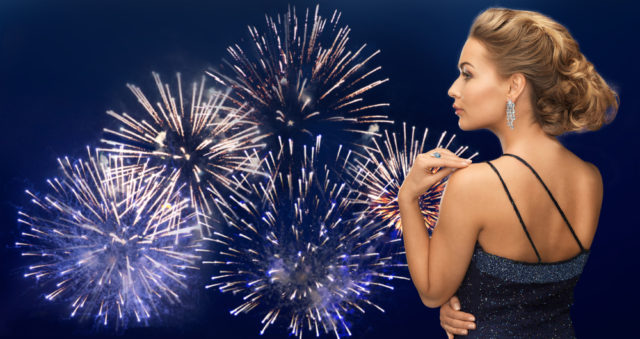 girl on the background of fireworks