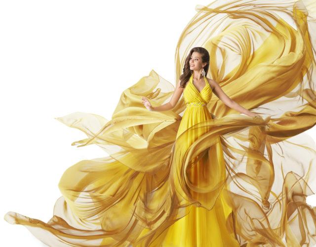 girl in a long yellow dress