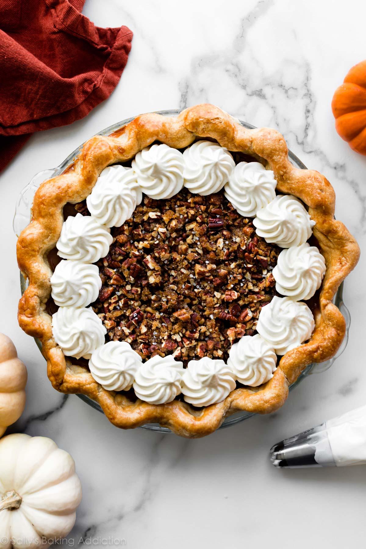 Sweet/Salty Pecan Praline Pumpkin Pie Recipe| Sally's Baking Addiction 36
